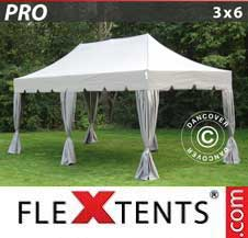 Quick-up telt FleXtents Pro 3x6m Latte, inkl. 6 dekorative gardiner