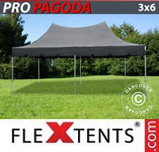 Quick-up telt FleXtents Pro 3x6m Svart, inkl. 6 sidevegger