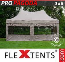 Quick-up telt FleXtents Pro 3x6m Latte, inkl. 6 sidevegger