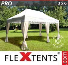 Quick-up telt FleXtents Pro 3x6m Hvit, inkl. 6 dekorative gardiner