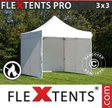 Quick-up telt FleXtents Pro 3x3m Hvit, Flammehemmende, inkl. 4 sider