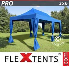 Quick-up telt FleXtents Pro 3x6m Blå, inkl. 6 dekorative gardiner