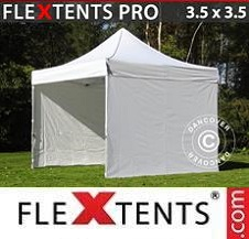 Quick-up telt FleXtents Pro 3,5x3,5m Hvit, inkl. 4 sider