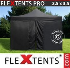 Quick-up telt FleXtents Pro 3,5x3,5m Svart, inkl. 4 sider