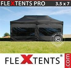 Quick-up telt FleXtents Pro 3,5x7m Svart, inkl. 6 sider