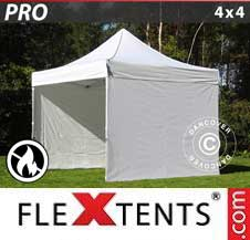 Quick-up telt FleXtents Pro 4x4m Hvit, Flammehemmende, inkl. 4 sider