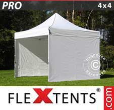 Quick-up telt FleXtents Pro 4x4m Hvit, inkl. 4 sider