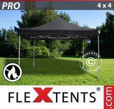 Quick-up telt FleXtents Pro 4x4m Svart, Flammehemmende