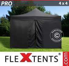 Quick-up telt FleXtents Pro 4x4m Svart, inkl. 4 sider