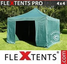 Quick-up telt FleXtents Pro 4x4m Grønn, inkl. 4 sider