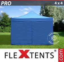 Quick-up telt FleXtents Pro 4x4m Blå, inkl. 4 sider