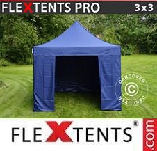 Quick-up telt FleXtents Pro 3x3m Mørk blå, inkl. 4 sider
