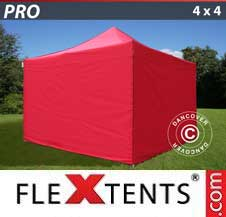 Quick-up telt FleXtents Pro 4x4m Rød, inkl. 4 sider