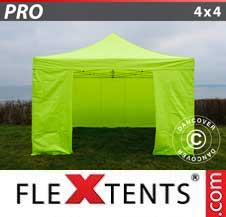 Quick-up telt FleXtents Pro 4x4m Neongul/grønn, inkl. 4 sider