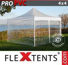 Quick-up telt FleXtents Pro 4x4m Transparent, inkl. 4 sider