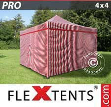 Quick-up telt FleXtents Pro 4x4m stripet, inkl. 4 sider
