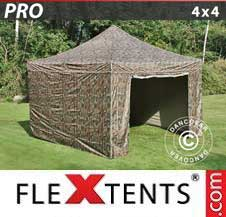 Quick-up telt FleXtents Pro 4x4m Kamuflasje, inkl. 4 sider