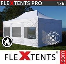 Quick-up telt FleXtents Pro 4x6m Hvit, Flammehemmende inkl. 4 sider