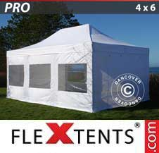 Quick-up telt FleXtents Pro 4x6m Hvit, inkl. 8 sider
