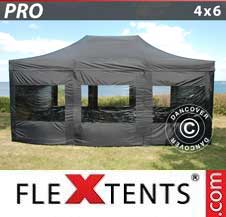 Quick-up telt FleXtents Pro 4x6m Svart, inkl. 8 sider