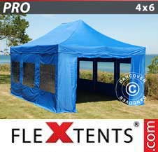 Quick-up telt FleXtents Pro 4x6m Blå, inkl. 8 sider