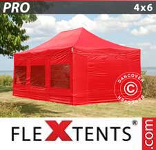Quick-up telt FleXtents Pro 4x6m Rød, inkl. 8 sider