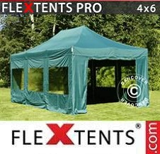 Quick-up telt FleXtents Pro 4x6m Grønn, inkl. 8 sider