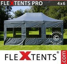 Quick-up telt FleXtents Pro 4x6m Grå, inkl. 8 sider