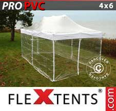 Quick-up telt FleXtents Pro 4x6m Transparent, inkl. 8 sider