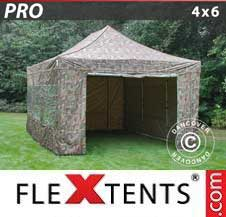 Quick-up telt FleXtents Pro 4x6m Kamuflasje, inkl. 8 sider