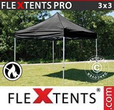 Quick-up telt FleXtents Pro 3x3m Svart, Flammehemmende