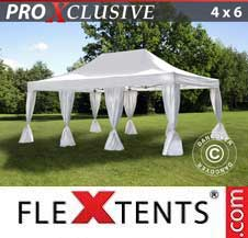 Quick-up telt FleXtents Pro 4x6m Hvit, inkl. dekorative gardiner