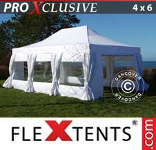 Quick-up telt FleXtents Pro 4x6m Hvit, inkl. 8 sider & dekorative gardiner