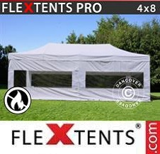 Quick-up telt FleXtents Pro 4x8m Hvit, Flammehemmende inkl. 4 sider