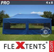 Quick-up telt FleXtents Pro 4x8m Blå, inkl. 6 sider