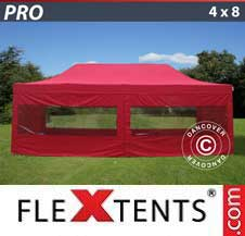 Quick-up telt FleXtents Pro 4x8m Rød, inkl. 6 sider