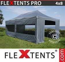 Quick-up telt FleXtents Pro 4x8m Grå, inkl. 6 sider