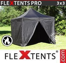 Quick-up telt FleXtents Pro 3x3m Svart, Flammehemmende, inkl. 4 sider