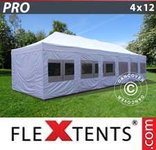 Quick-up telt FleXtents Pro 4x12m Hvit, inkl. sider