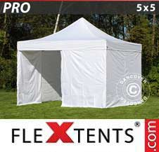 Quick-up telt FleXtents Pro 5x5m Hvit, inkl. 4 sider