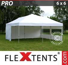 Quick-up telt FleXtents Pro 6x6m Hvit, inkl. 8 sider