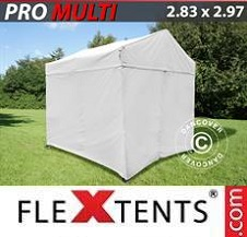 Quick-up telt FleXtents Pro 2,83x2,97m Hvit, inkl. 4 sider