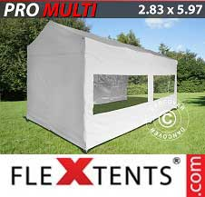 Quick-up telt FleXtents Pro 2,83x5,87m Hvit, inkl. 6 sider