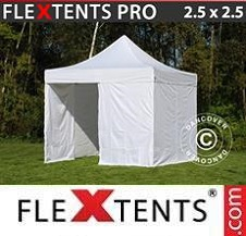 Quick-up telt FleXtents Pro 2,5x2,5m Hvit, inkl. 4 sider