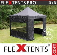 Quick-up telt FleXtents Pro 3x3m Svart, inkl. 4 sider