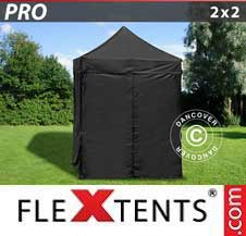 Quick-up telt FleXtents Pro 2x2m Svart, inkl. 4 sider
