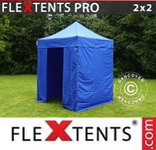 Quick-up telt FleXtents Pro 2x2m Blå, inkl. 4 sider