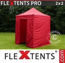 Quick-up telt FleXtents Pro 2x2m Rød, inkl. 4 sider