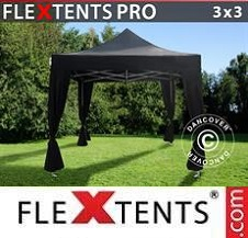 Quick-up telt FleXtents Pro 3x3m Svart, inkl. 4 dekorative gardiner