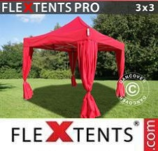 Quick-up telt FleXtents Pro 3x3m Rød, inkl. 4 dekorative gardiner
